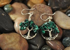 Malachite Tree of Life Earrings by FreiaInguz