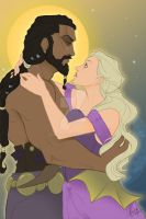 Khal Drogo and Daenerys Targaryen by skardash