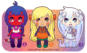 Adopts~Halloween Girls [1 open!] by Miss-Glitter