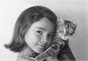 Pencil portrait of a girl with a cat by LateStarter63
