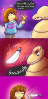 Frisk Encounters Dummy by SecretMaskedBurger