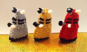 Set of 3 Small Knitted Dalek Stuffed Toys by DrFrankKnits
