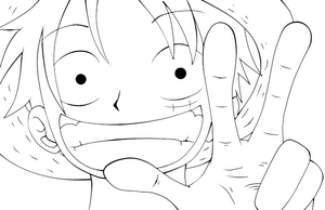 Luffy Lineart - Colourable by ShadowWhisper446