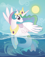 Princess Celestia Merpony by inki-drop