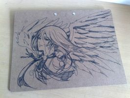 angel on mounting board by darkn2ght
