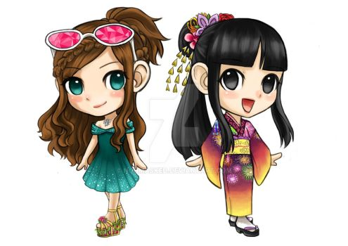 Ema Skye and Maya Fey chibi art by NohMasked
