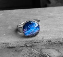 Blue Cosmic Galaxy Resin Ring by crystaland