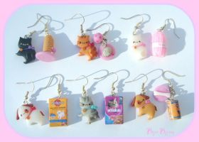 Cats and Dogs earrings kawaii by Bojo-Bijoux