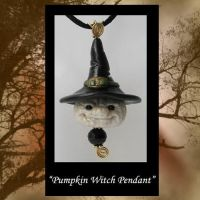 White Pumpkin Witch Pendant by KabiDesigns