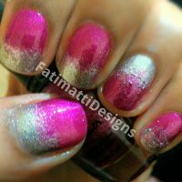 Pink and Silver Ombre Gradient by FatimattiDesigns