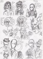 Creepy Pasta and SlenderVerse Pen Sketches by ShadowChaser12