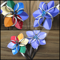 Flower Clip Pair - Violet+RNBW by ArmoredKoi