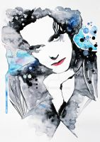 Watercolor's tribute to Robert Smith. by AirelavArt