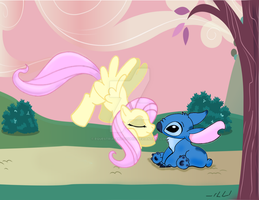 Stitch And Fluttershy by Equestria-Art-Studio