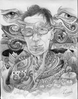 Surreal drawing of Richard Alden Peterson by Deborah-Valentine