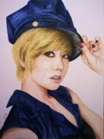 Sunny in Mr. Taxi  (watercolour/acuarela) by darklady-ldr