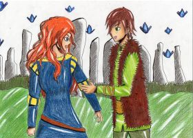 Merida y Hiccup by Mitsukichan17