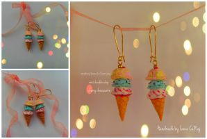 Miniature Ice Cream Earrings by SweetIva