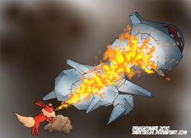Steelix vs. Flareon by DarkTailss