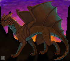 Dragon at Dusk by mutantzombiebaby