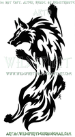 Climbing Wolf Tribal Design by WildSpiritWolf