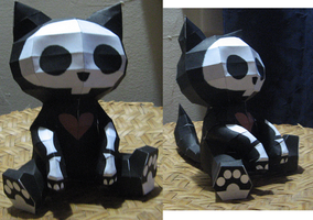 Papercraft Skeleton Kitty by inuyashashotty