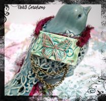 Green and Burgundy Butterfly Ceramic Focal Necklac by kelleejm1