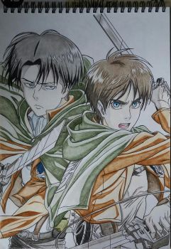 Levi and Eren by DarkWolf-97