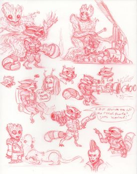 GOTG - Rocket and Groot Studies by HJTHX1138