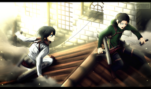 Shingeki no Kyojin - Mikasa and Levi [commission] by Kortrex