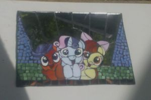 MLP FIM glass mosaic mirror: Cutie Mark Crusaders by vulpinedesigns