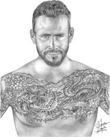 CM Punk Pencil Drawing by Chirantha
