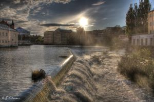 sunset over Norrkoeping by Sockrattes