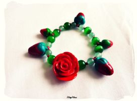 Strawberry and  Rose Bracelet by Cateaclysmic