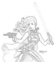 Mara Jade 2 Pencils by BillMcKay