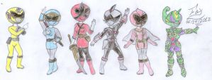 All female - Super Sentai favorites by FoxBluereaver