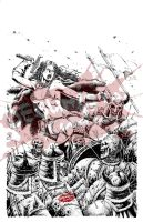 Red Sonja fan art_Against the Undead by debuhista