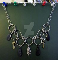 Feather and Key Chainmail Steampunk Necklace by LyraAlluse