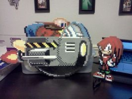 Knuckles and Robotnik perlers by ZanderYurami
