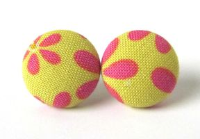 Stud earrings button yellow pink red flowers autum by KooKooCraft