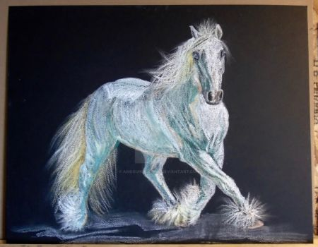 Soft Pastel Painting - White Shire? by amequinedesign