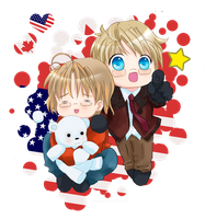 Hetalia Canada and America by HoneyHamster