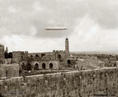 Graf Zeppelin flying over Jerusalem, 1929 by YamaLama1986