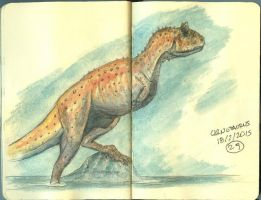 Carnotaurus in Watercolor by maniraptora