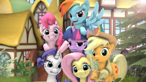Mane 6 together by RedAceOfSpades
