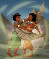 The Gods - Isis and Nephtys by MadFretsy