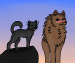 A cat and a wolf by DjanyCat