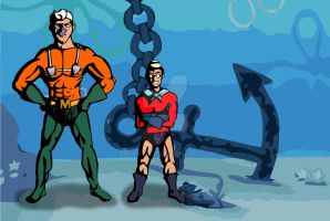Mermaid Man and Barnacle Boy by bryanyuth