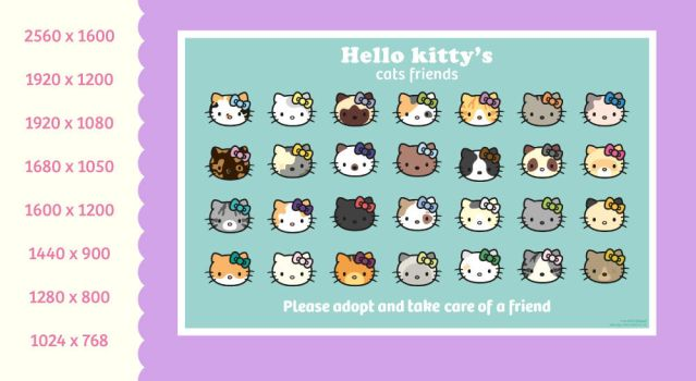 wallpaper Hello Kitty's cats friends by miri-chiwa