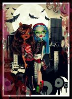 Clawdeen and Ghoulia grunge style by gorgonbreath